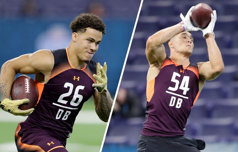 UW defensive backs Byron Murphy, left, and Taylor Rapp, right, at the NFL combine. (Associated Press)