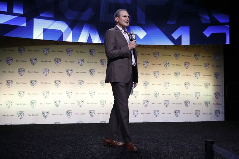 Pac-12 commissioner Larry Scott speaks at the Pac-12 Conference NCAA college football Media Day in Los Angeles, Wednesday, July 25, 2018.  (Jae C. Hong / AP)
