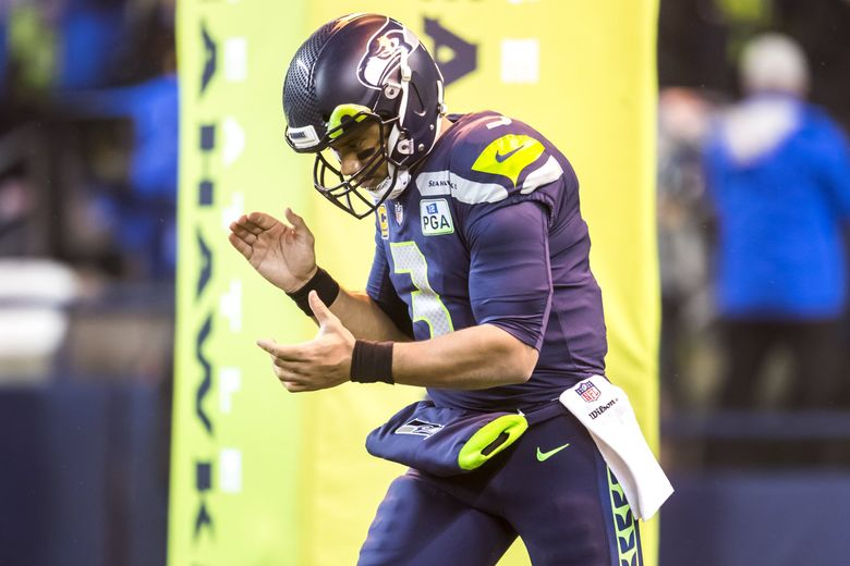 Seahawks quarterback Russell Wilson comes out for introductions before the Seattle Seahawks take on the Kansas City Chiefs at CenturyLink Field in Seattle Sunday December 23, 2018. (Bettina Hansen / The Seattle Times)