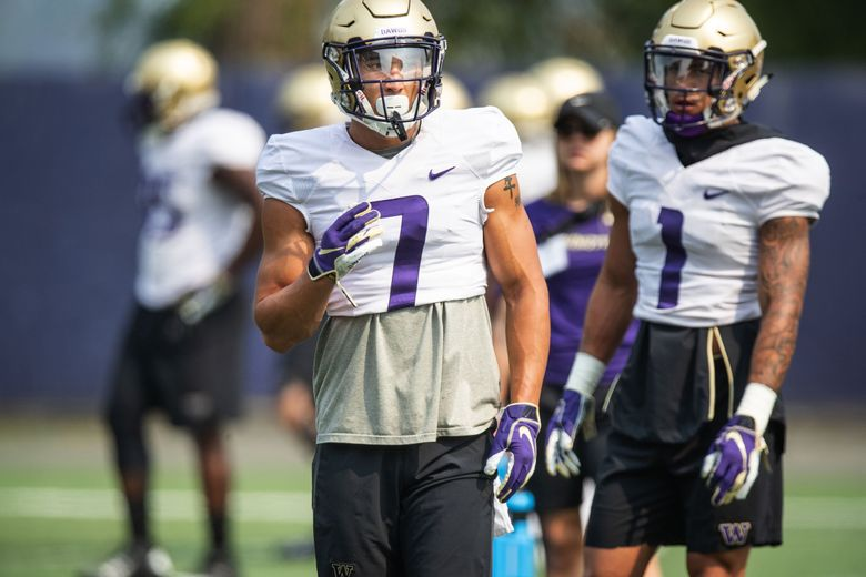 Defensive back Taylor Rapp (1), left, and Byron Murphy at the University of Washington Huskies practice Monday, August 13, 2018 in Seattle.  (Dean Rutz / The Seattle Times)