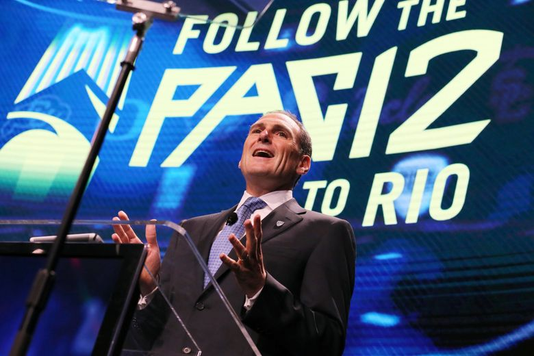 Pac-12 commissioner Larry Scott speaks at the Pac-12 football media day in Los Angeles in 2016. (Reed Saxon / AP)