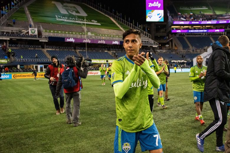Fifteen-year-old midfielder Danny Leyva acknowledges the crowd following his first Sounders appearance, a friendly vs. Uruguayan Club Nacional. Leyva, who signed with the Sounders' USL Tacoma Defiance last fall, will sign with the Sounders. (Charis Wilson / Sounders)