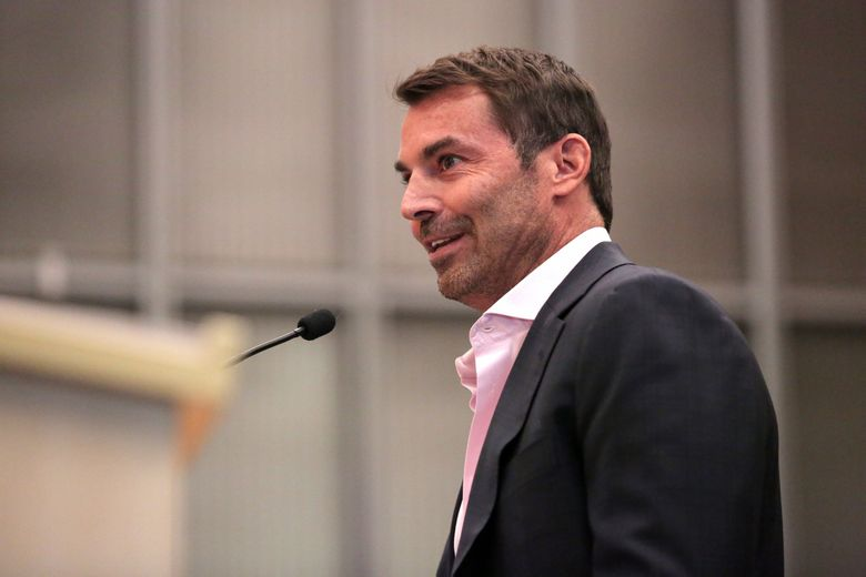 Chris Hansen speaks on arena proposals during a Seattle City Council meeting in 2017.   (Courtney Pedroza / The Seattle Times)