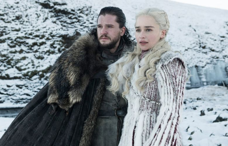 """The final season of """"Game of Thrones,"""" starring Kit Harington and Emilia Clarke, begins Sunday night, April 14, on all HBO services. (Helen Sloane / HBO)"""