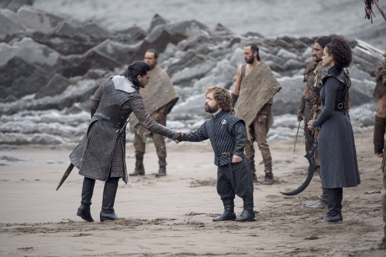 """Tyrion Lannister and Jon Snow meet at Dragonstone in the penultimate season of """"Game of Thrones."""" (HBO)."""