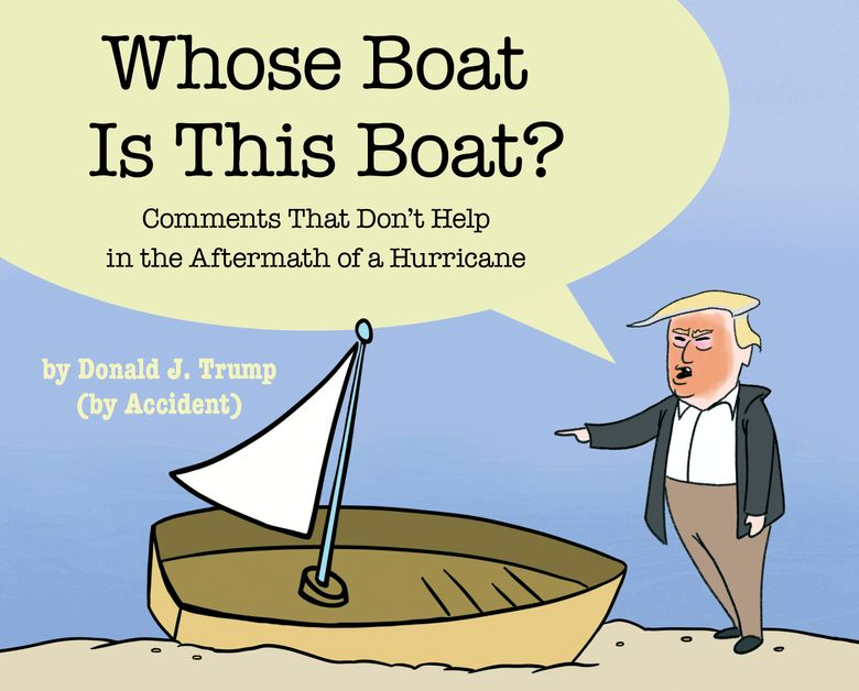 """This cover image released by Simon & Schuster shows """"Whose Boat Is This Boat?: Comments That Don't Help in the Aftermath of a Hurricane,"""" by The Staff of The Late Show with Stephen Colbert.  Colbert has donated proceeds from his Hurricane Florence-related book to disaster-relief efforts in North Carolina. The Raleigh News & Observer reported Thursday, April 18, 2019, that the comedian sent a check for $412,412 to Gov. Roy Cooper. The governor posted a """"thank-you"""" on Facebook. (Simon & Schuster via AP)"""