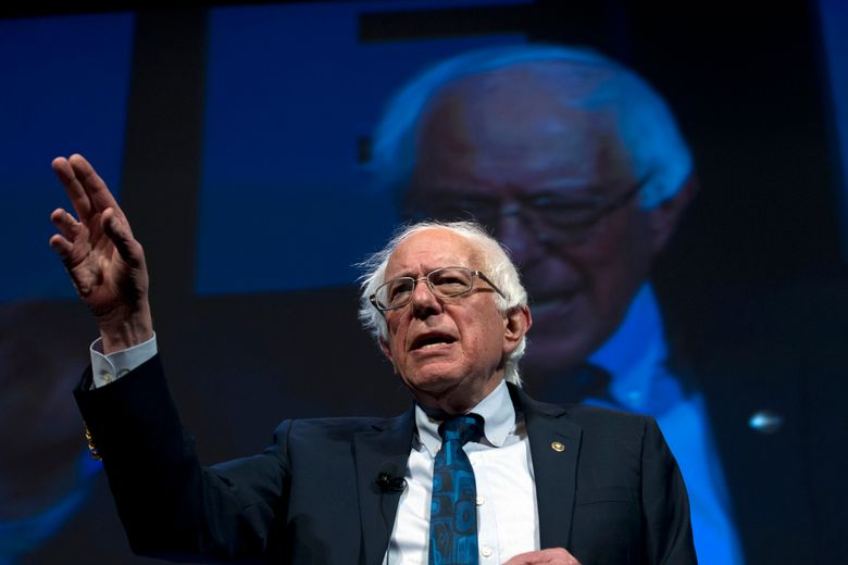 In this April 1, 2019, file photo, Democratic presidential candidate Sen. Bernie Sanders, I-Vt., speaks during the We the People Membership Summit in Washington. Sanders is leading Democratic presidential candidates in the early money chase with more than $18 million in contributions during the first seven weeks of his candidacy. (AP Photo/Jose Luis Magana)
