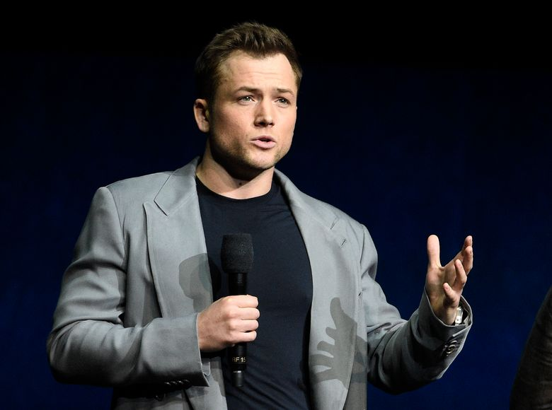 """File-This April 4, 2019, file photo shows Taron Egerton, who plays singer Elton John in the upcoming film """"Rocketman,"""" discussing the film during the Paramount Pictures presentation at CinemaCon 2019, the official convention of the National Association of Theatre Owners (NATO) at Caesars Palace, in Las Vegas. The biopic will premiere at the Cannes Film Festival next month. """"Rocketman"""" will screen May 16 at the French Riviera festival, two weeks before it's to be released in the United States.  Paramount Pictures on Tuesday, April 16, 2019, confirmed the premiere, which Variety first reported. (Photo by Chris Pizzello/Invision/AP, File)"""