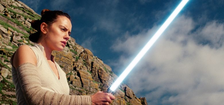 """This image released by Lucasfilm shows Daisy Ridley as Rey in """"Star Wars: The Last Jedi."""" The Skywalker saga may be coming to an end this December as the latest Star Wars trilogy finishes. (Lucasfilm via AP)"""
