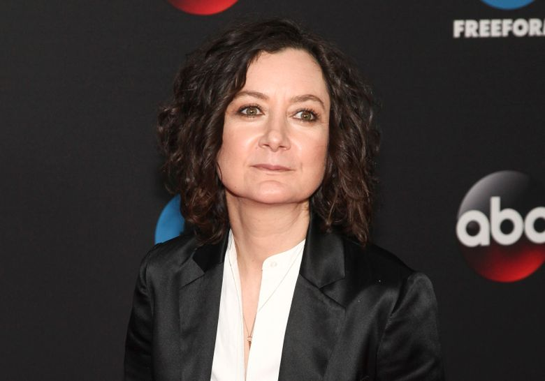 """FILE – This May 15, 2018 file photo shows Sara Gilbert at the Disney/ABC/Freeform 2018 Upfront Party in New York. Gilbert, a co-host on the CBS show """"The Talk,"""" announced Tuesday, April 9, 2019 that she will be leaving the show at the end of this season. (Photo by Andy Kropa/Invision/AP, File)"""