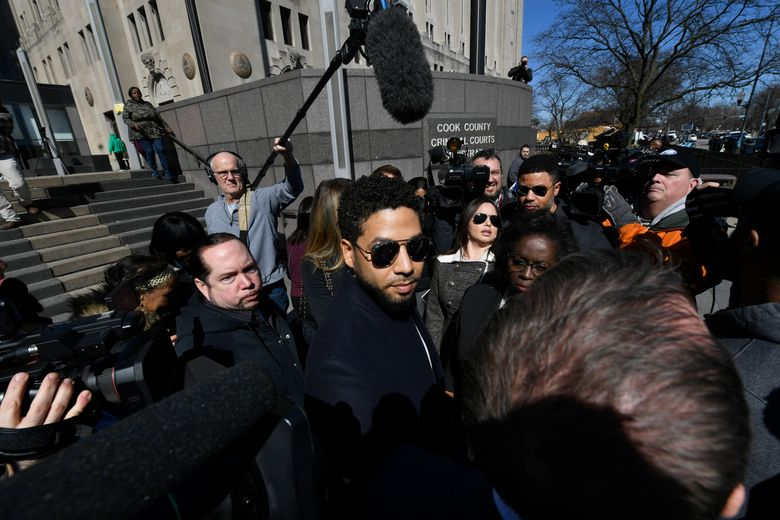 Actor Jussie Smollett leaves Cook County Court after his charges were dropped, Tuesday, March 26, 2019, in Chicago. (AP Photo/Paul Beaty)