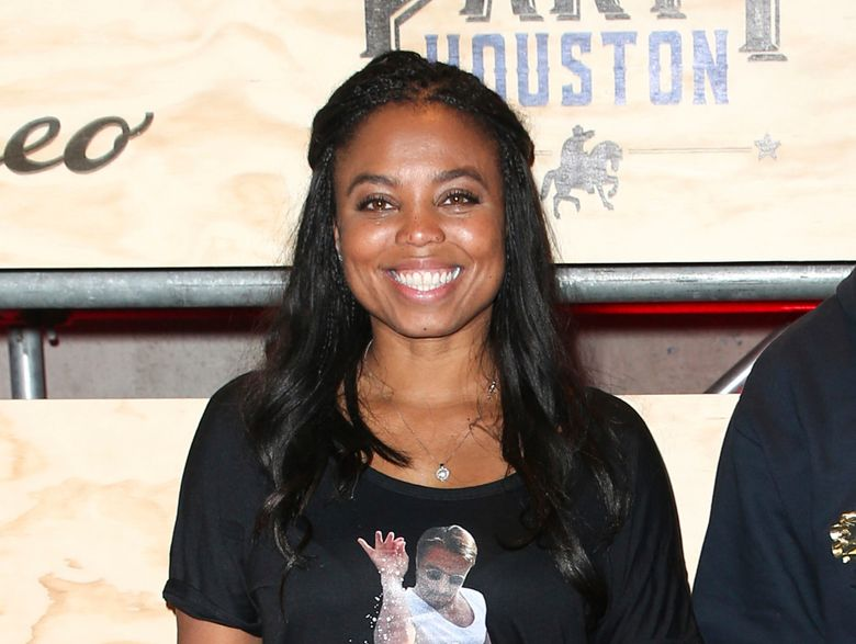 """FILE – This Feb. 3, 2017 file photo shows Jemele Hill at ESPN: The Party 2017 in Houston, Texas. The former ESPN host, best known to the non-sports world for tweets about President Donald Trump that provoked the White House to unsuccessfully seek her firing, launches a weekly podcast Monday on Spotify. Called """"Jemele Hill is Unbothered,"""" she'll conduct interviews and give commentary on sports, politics and culture. (Photo by John Salangsang/Invision/AP, File)"""