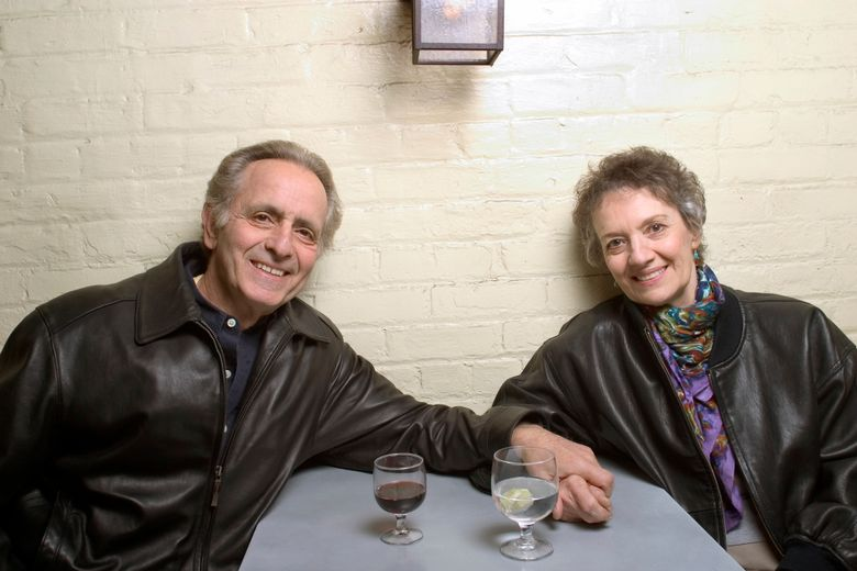 """FILE – In this April 8, 2004 file photo, playwright Mark Medoff, left, and actress Phyllis Frelich pose for a photo in New York. Medoff, who wrote the award-winning play """"Children of a Lesser God,"""" has died in New Mexico at age 79. Medoff's daughter, Jessica Bunchman, confirmed that he died Tuesday, April 23, 2019, in a Las Cruces hospice, surrounded by family. Frelich won a Tony in 1980 for her Broadway portrayal of Sarah Norman, the deaf woman at the heart of the play. (AP Photo/Justin Walters, File)"""