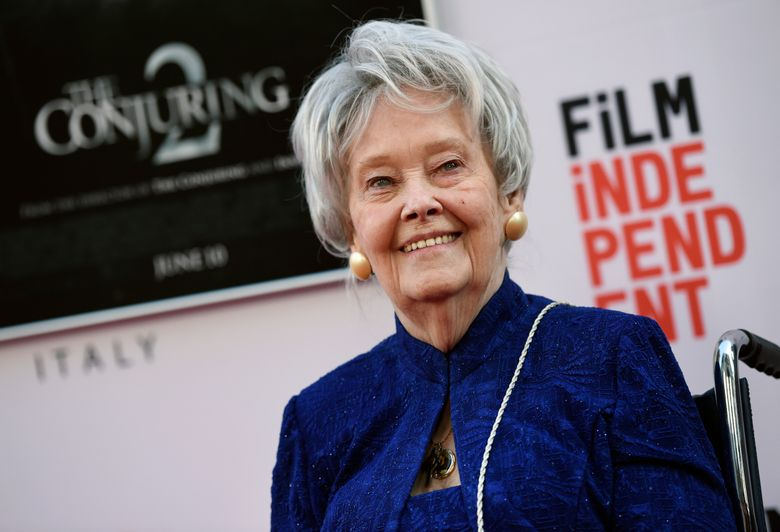 """FILE – In this June 7, 2016, file photo, paranormal investigator and film consultant Lorraine Warren poses at the premiere of the film """"The Conjuring 2"""" during the Los Angeles Film Festival at the TCL Chinese Theatre in Los Angeles. Warren, whose decades of ghost-hunting cases alongside her late husband were the inspiration for films such as """"The Conjuring"""" and """"The Amityville Horror,"""" died Thursday night, April 18, 2019, at her Connecticut home. She was 92.  (Photo by Chris Pizzello/Invision/AP, File)"""