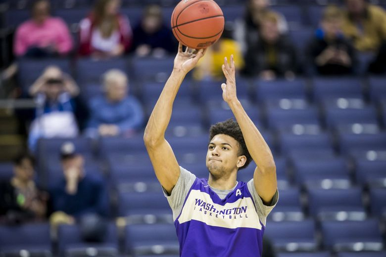 Washington guard Matisse Thybulle shoots as the Huskies practice the day before they play Utah State in the first round of the NCAA Tournament at Nationwide Arena in Columbus, Ohio, March 21, 2019. (Bettina Hansen / The Seattle Times)