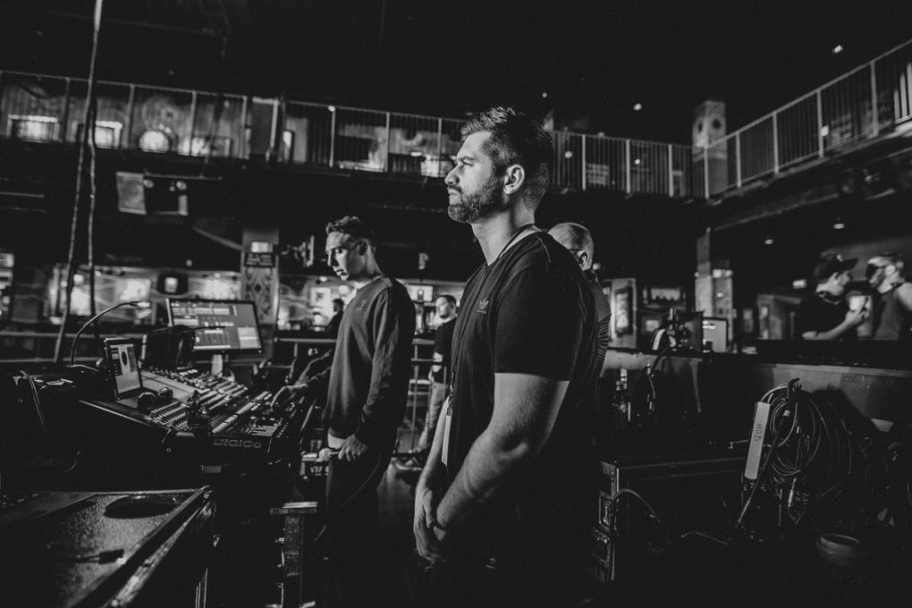 ODESZA's Harrison Mills, foreground, and Clay Knight rehearse for their Double Major concert with Death Cab for Cutie. (Julian Bajsel)