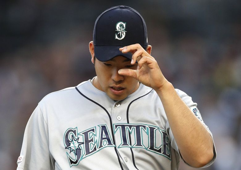 Mariners starting pitcher Yusei Kikuchi leaves the mound in the third inning Wednesday against the New York Yankees. (Kathy Willens / The Associated Press)