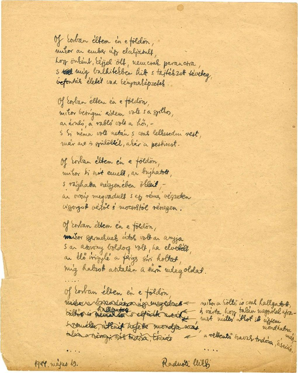 A fragment of a poem by Miklós Radnóti, dated May 19, 1944. (Courtesy of Music of Remembrance via Library of the Hungarian Academy of Sciences)