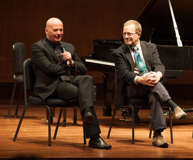 """Composer Tom Cipullo, left, and librettist David Mason, composers of """"The Parting,"""" a world premiere chamber opera commissioned by Music of Remembrance. (Michael Beaton)"""