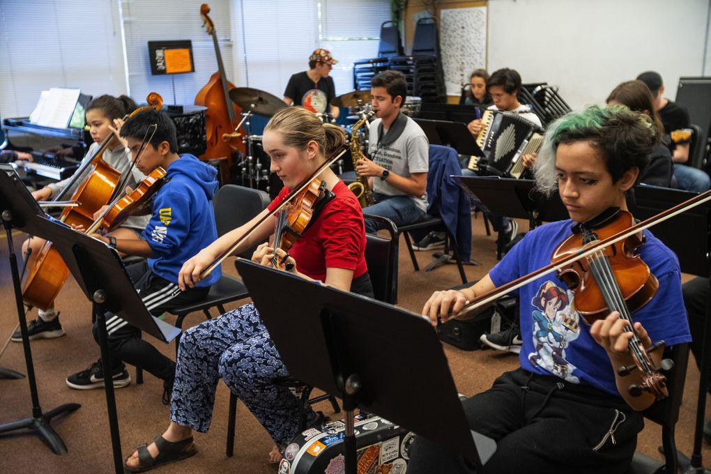 Wayne Horvitz's Creative Orchestra Project, one of the ensembles at JazzED, rehearses. (Dean Rutz / The Seattle Times)