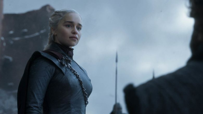 """This image released by HBO shows Emilia Clarke in a scene from the final episode of """"Game of Thrones,"""" that aired Sunday, May 19, 2019. (HBO via AP)"""