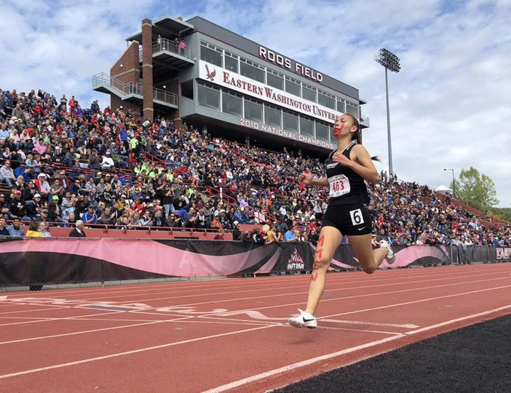 Muckleshoot Tribal School's Rosalie Fish wins the 800 at the Class 1B state track and field meet in Cheney on May 25.  (Courtesy of WIAA)