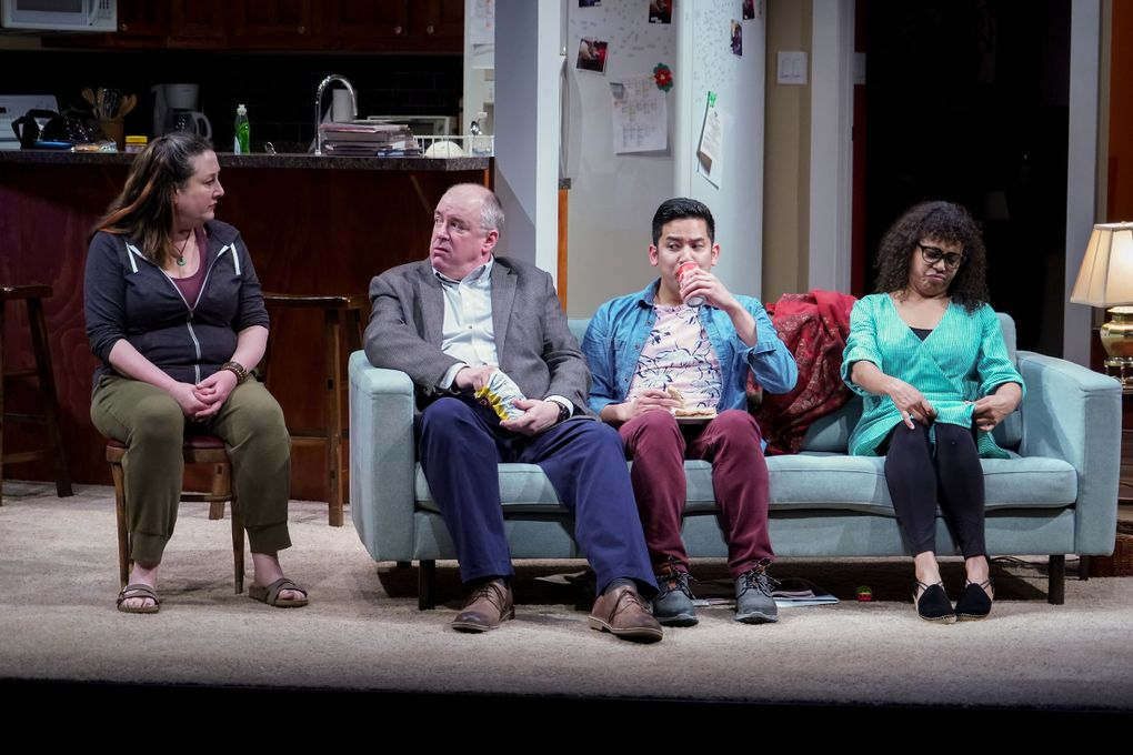 """Julie Briskman (Sugar), Charles Leggett (Letter Writer 1), Justin Huertas (Letter Writer 3), and Chantal DeGroat (Letter Writer 2) in Seattle Rep's production of """"Tiny Beautiful Things."""" (Alan Alabastro)"""
