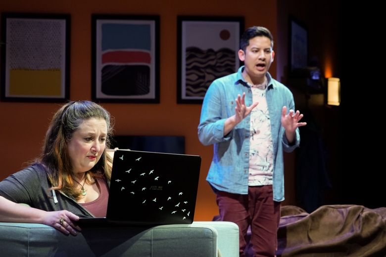 """Julie Briskman (Sugar) and Justin Huertas (Letter Writer 3) in Seattle Rep's production of """"Tiny Beautiful Things."""" (Alan Alabastro)"""