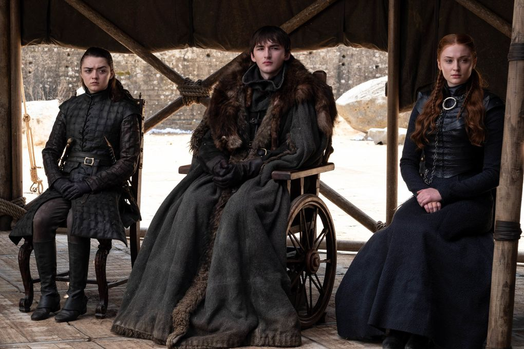 """Maisie Williams, left, Isaac Hempstead Wright and Sophie Turner portray the Stark siblings Arya, Bran and Sansa in the final episode of """"Game of Thrones."""" (HBO)"""