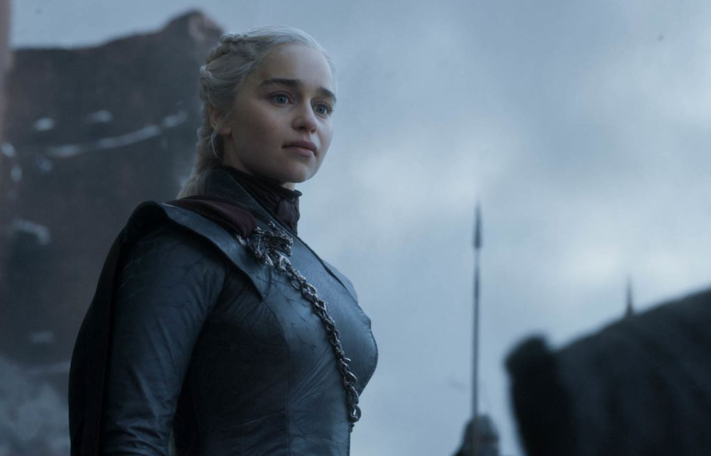 """Emilia Clarke as Daenerys Targaryen in a scene from the final episode of """"Game of Thrones,"""" which aired Sunday. (HBO)"""