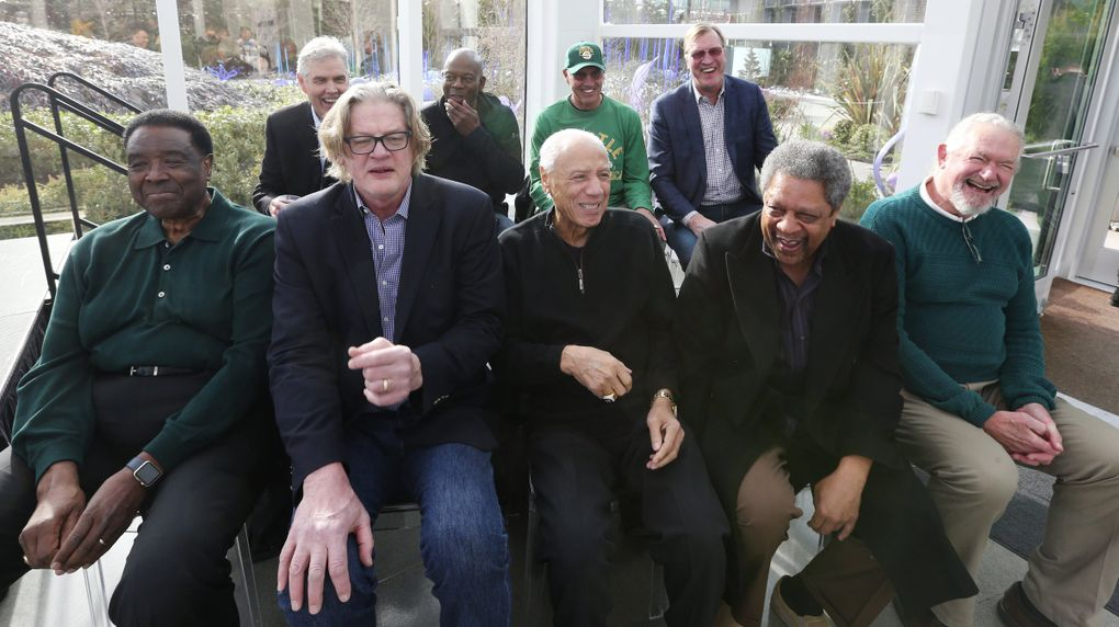 Members of the 1978-79 Seattle Sonics reunite at a news conference, Thursday, Feb. 7, 2019 in Seattle, 40 years after winning the NBA Championship. Front row from left: Paul Silas, Tom LaGarde, coach Lenny Wilkens, Fred Brown and Dennis Awtrey. Back row from left: Wally Walker, Gus Williams, Dick Snyder and Jack Sikma.(Ken Lambert / The Seattle Times)