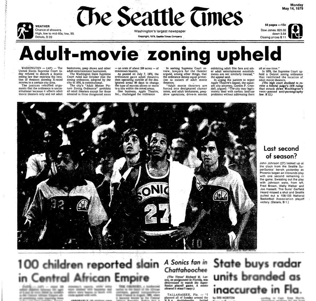A1 of The Seattle Times, Monday, May 14, 1979. (Seattle Times archives)