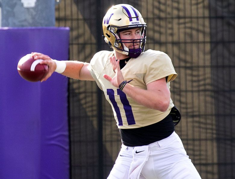 University of Washington quarterback Jacob Sirmon (11)  works out during spring practice at the Husky Stadium practice facility on Wednesday April 24, 2019. (Mike Siegel / The Seattle Times)