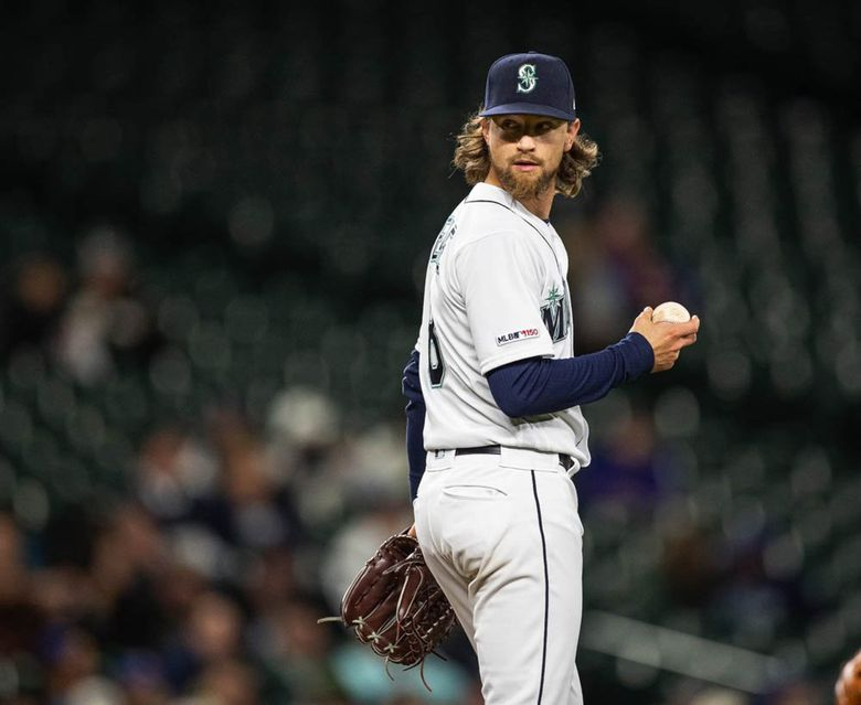 Mariners starting pitcher Mike Leake is having difficulty adjusting to the Mariners' 'step back' program in 2019. (Dean Rutz / The Seattle Times)