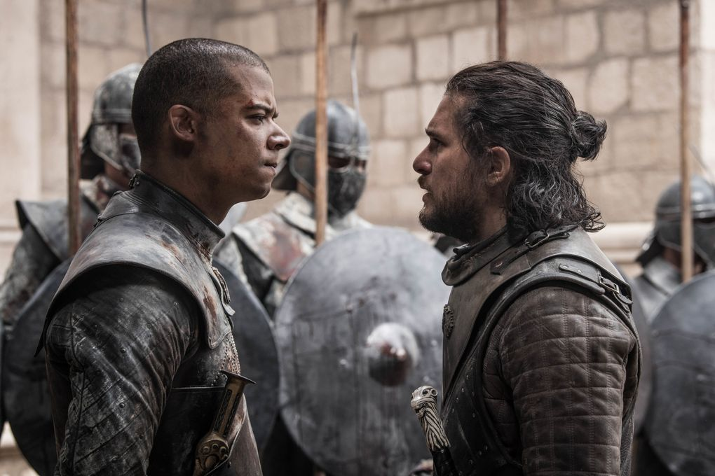 """Jacob Anderson as Grey Worm, left, and Kit Harington as Jon Snow in the series finale of """"Game of Thrones."""" (Helen Sloan / HBO)"""