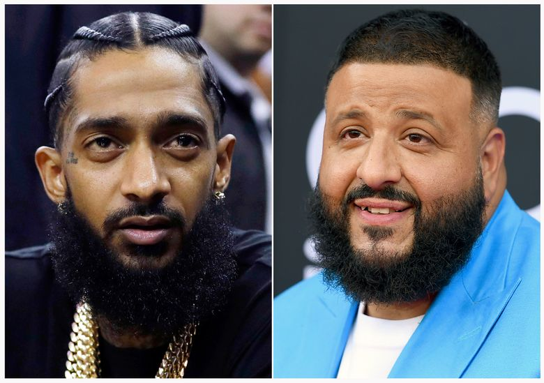 This combination photo shows rapper Nipsey Hussle at an NBA basketball game between the Golden State Warriors and the Milwaukee Bucks in Oakland, Calif. on March 29, 2018, left, and DJ Khaled at the Billboard Music Awards in Las Vegas on May 20, 2018. Khaled is releasing a single with Nipsey Hussle that was filmed days before Hussle was shot to death in Los Angeles. (AP Photo)
