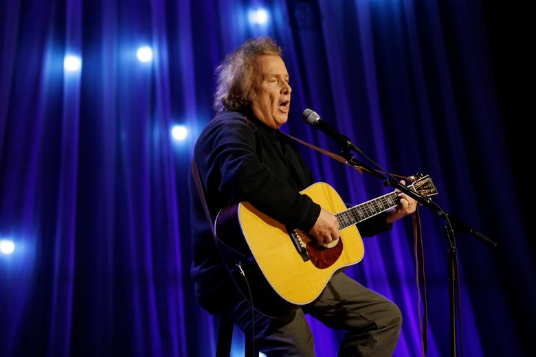 """FILE – In this Dec. 13, 2016 file photo, Don McLean performs during a taping of Dolly Parton's Smoky Mountain Rise Telethon in Nashville, Tenn. A lifetime achievement award has been offered and rescinded for """"American Pie"""" singer McLean. The 73-year-old announced Monday, May 6, 2019, that he would receive the George and Ira Gershwin Award for Lifetime Musical Achievement, presented by the Student Alumni Association of University of California, Los Angeles, on May 17. Past recipients included Julie Andrews, Brian Wilson, Ella Fitzgerald and Ray Charles. (AP Photo/Mark Humphrey, File)"""