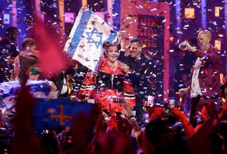 FILE – In this May 12, 2018 file photo, Netta Barzilai from Israel celebrates after winning the Eurovision song contest in Lisbon, Portugal. Palestinian artists are calling on Eurovision song contest contestants to boycott the international music competition that Israel is hosting next week. On Wednesday, May 8, 20119, The Gaza Strip-based Palestinian Artists Association cited the killing of over 60 Palestinians during Gaza border protests on May 14 last year, the same day Israel won the Eurovision. (AP Photo/Armando Franca, File)