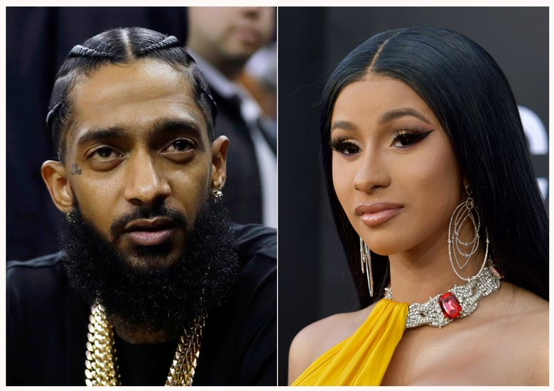 This combination of photos shows rapper Nipsey Hussle at an NBA basketball game between the Golden State Warriors and the Milwaukee Bucks in Oakland, Calif. on March 29, 2018, left, and rapper Cardi B at the Billboard Music Awards in Las Vegas on May 1, 2019.  Hussle scored a posthumous nomination for the 2019 BET Awards and Cardi B is the most nominated act with seven. The BET Awards will take place June 23, 2019, in Los Angeles. (AP Photo)