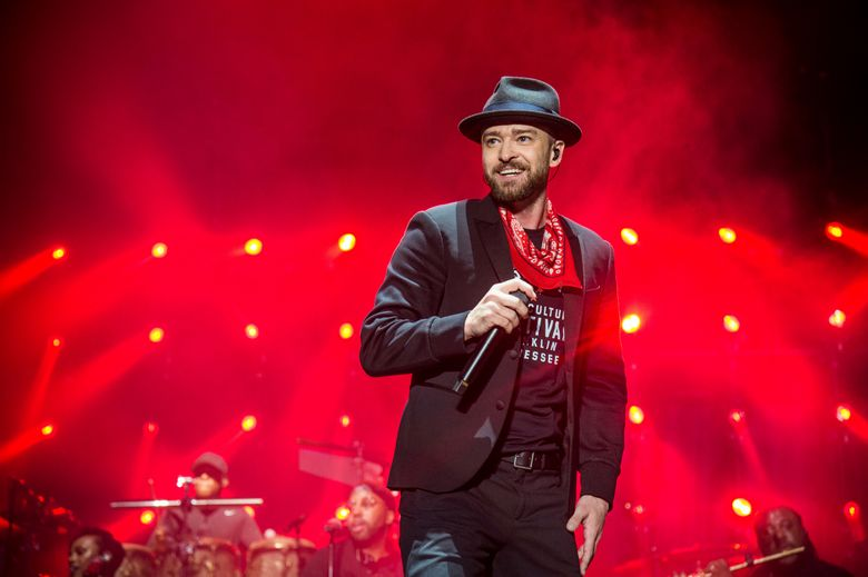 """FILE – In this Sept. 23, 2017 file photo, Justin Timberlake performs at the Pilgrimage Music and Cultural Festival in Franklin, Tenn. Timberlake's songwriting chops will be honored next month. The pop star will receive the Contemporary Icon Award from the Songwriters Hall of Fame on June 13, 2019, at the organization's 50th annual induction ceremony in New York. Timberlake is just the second person to receive the honor; Lady Gaga earned it in 2015. Songwriters Hall said the award is given to a """"songwriter-artist who has attained an iconic status in pop culture."""" (Photo by Amy Harris/Invision/AP, File)"""