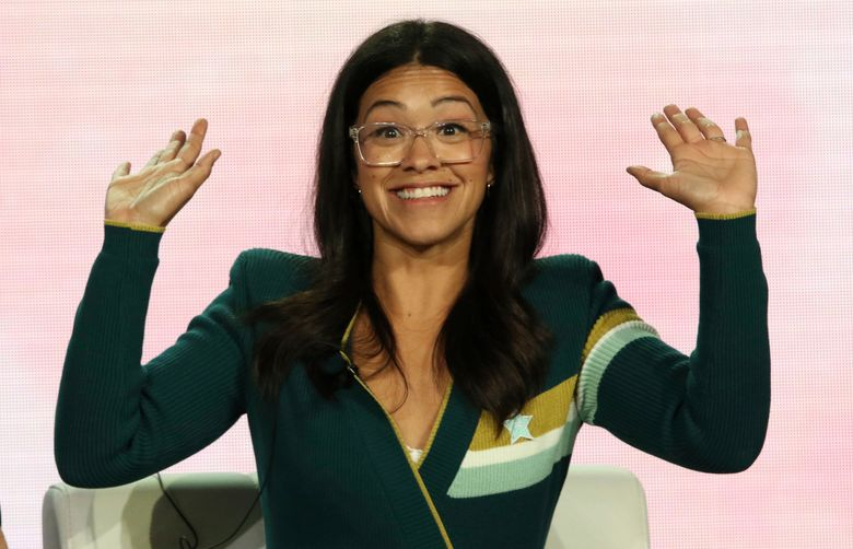 """FILE – In a Thursday, Jan. 31, 2019 file photo, Gina Rodriguez speaks in the A Final Farewell to """"Jane the Virgin"""" panel during the CW TCA Winter Press Tour, in Pasadena, Calif. Rodriguez has gotten married. The 34-year-old shared a video on Instagram of the Saturday, May 4, 2019 wedding to Joe LoCicero.  (Photo by Willy Sanjuan/Invision/AP, File)"""