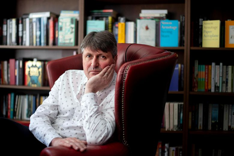 In this undated photo made available on Friday, May 10, 2019, poet Simon Armitage  poses for a photo, In London. Armitage has been named the U.K.'s new Poet Laureate, succeeding Carol Ann Duffy in the 10-year post. Queen Elizabeth II has approved the appointment, Britain's highest literary honor. It is up to the poet to decide whether or not to produce poetry for national and royal occasions. Armitage, a professor of poetry at the University of Leeds, has published 28 collections of poetry and his work is studied by schoolchildren as part of the national curriculum. (Victoria Jones/PA via AP)