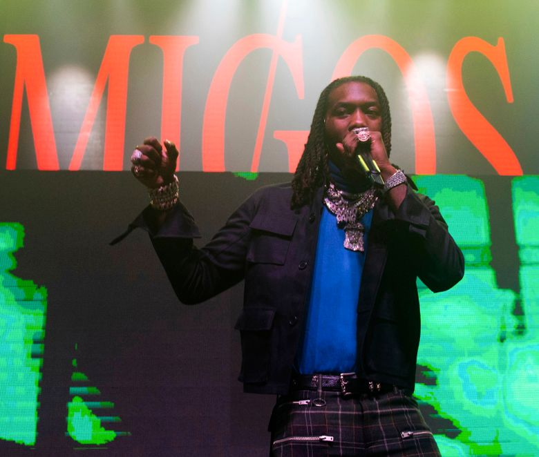 FILE – In this Feb. 1, 2019, file photo, Offset of Migos performs onstage at the Capitol Records Super Bowl Party at the Masquerade, in Atlanta. Authorities say Offset is facing a felony charge of criminal damage to property after an incident with a fan at a suburban Atlanta retailer. The Atlanta Journal-Constitution reports Sandy Springs Police confirm an arrest warrant was issued for the rapper, whose real name is Kiari Cephus. The report says the rapper's accused of knocking a cellphone out of a fan's hands as the fan recorded him recently at a Target store. (Photo by Paul R. Giunta/Invision/AP, File)