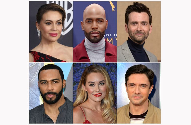 This combination of photos shows celebrities, top row from left, Alyssa Milano, Kamaro Brown, David Tennant, and bottom row from left, Omari Hardwick, Lauren Conrad and Topher Grace, who have launched podcasts. (AP Photo)