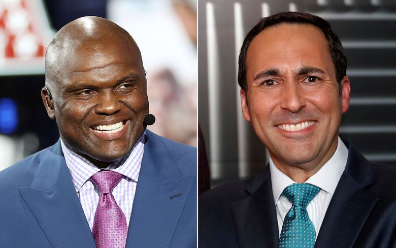 """FILE – At left, in an April 24, 2019, file photo, Booger McFarland is seen on the set of ESPN SportsCenter, in Nashville, Tenn. At right, in an Aug. 16, 2018, file photo, Joe Tessitore poses for a photograph before an ESPN telecast of a preseason NFL football game, in Landover, Md. ESPN's """"Monday Night Football"""" will go with a two-person booth this upcoming season, with Booger McFarland joining Joe Tessitore. ESPN had a three-man commentary team last year. (AP Photo/File)"""