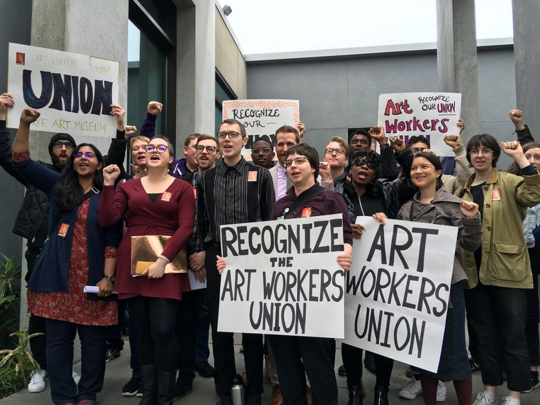 Security guards at the Frye Art Museum and their supporters (including Seattle City Councilmember Kshama Sawant) announce the creation of the Art Workers Union. (Brendan Kiley / The Seattle Times)