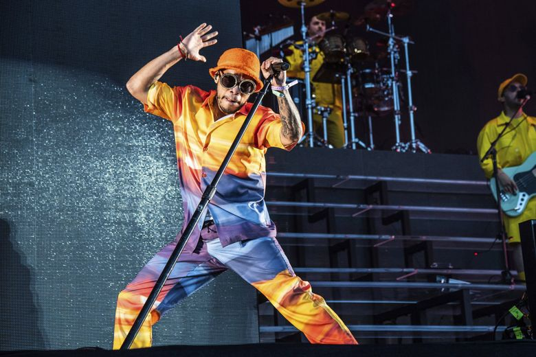 Rapper Anderson .Paak, performing at the Coachella Music & Arts Festival in April, is sure to bring a high-energy show to WaMu on Thursday, June 20. (Amy Harris / Invision / AP)