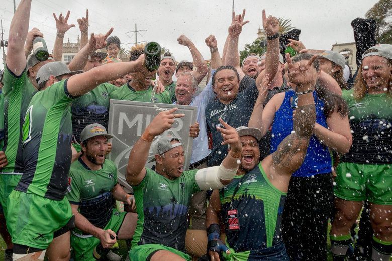 The Seattle Seawolves celebrate last season's victory against the San Diego Legion at the MLR Championship in San Diego. (Photo courtesy of Connie Hatfield)