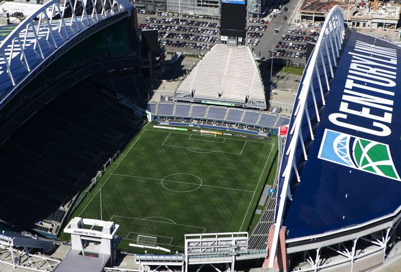 CenturyLink Field will have a new FieldTurf surface when the Sounders resume play from their two-week international break.  (Lindsey Wasson / The Seattle Times)