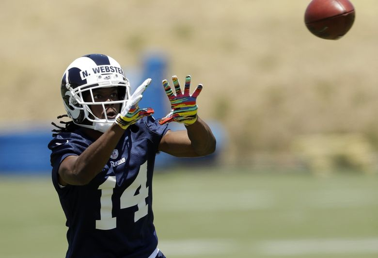 Los Angeles Rams wide receiver Nsimba Webster, a rookie out of Eastern Washington, makes a catch during training camp Tuesday, May 28, 2019, in Thousand Oaks, Calif. (Marcio Jose Sanchez / The Associated Press)